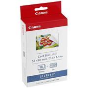 Etikety Canon Selphy CP XXX, biela, 18, ks KC18IF, pre termosublimačné tlačiarne, 86x54mm, vrátane naparovacej fólie