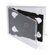 Obal na 2CD 100ks/balenie,  priehľadný s čiernym trayom, 10,4mm