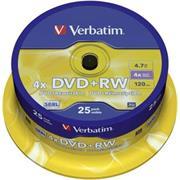 DVD+RW VERBATIM 4,7GB 4X 25ks/cake