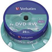 DVD-RW VERBATIM 4,7GB 4X 25ks/cake