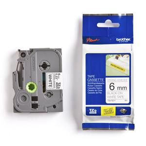 páska BROTHER TZS211 čierne písmo, biela páska extra lepivá ADHESIVE Tape (6mm)