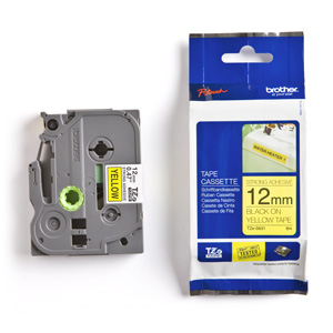 páska BROTHER TZS631 čierne písmo, žltá páska extra lepivá ADHESIVE Tape (12mm)
