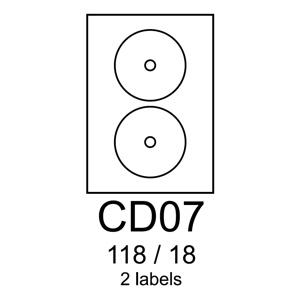 etikety RAYFILM CD07 118/18 univerzálne biele R0100CD07C (20 list./A4)
