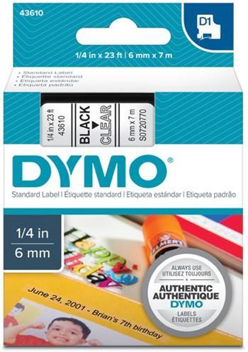 páska DYMO 43610 D1 Black On Transparent Tape (6mm)