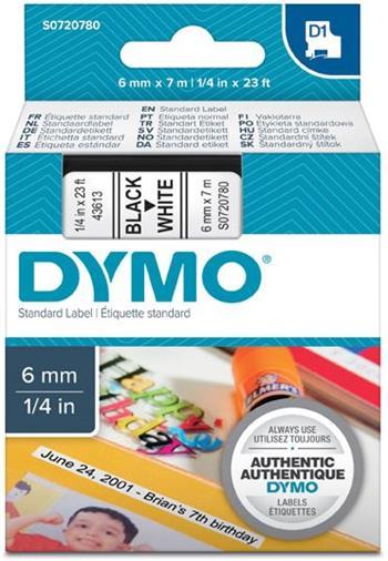 páska DYMO 43613 D1 Black On White Tape (6mm)