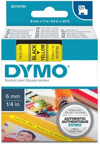 páska DYMO 43618 D1 Black On Yellow Tape (6mm)