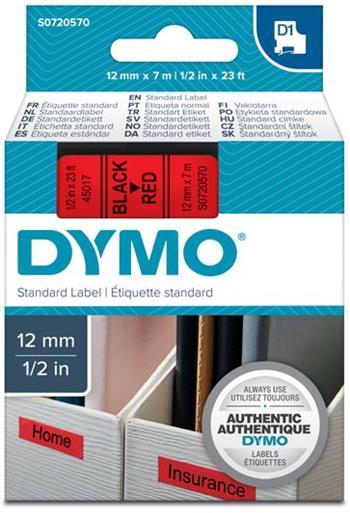 páska DYMO 45017 D1 Black On Red Tape (12mm)