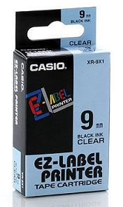páska CASIO XR-9X1 Black On Clear Tape EZ Label Printer (9mm)