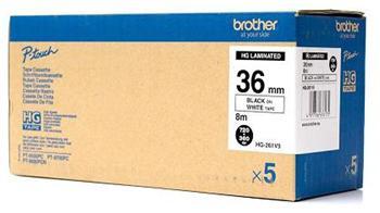 páska BROTHER HGe261 čierne písmo, biela páska HQ Tape (36mm) (5 ks)