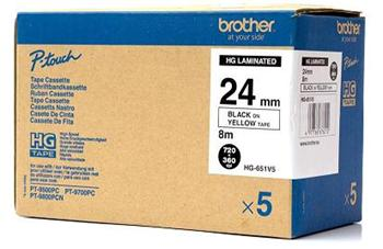 páska BROTHER HGe651 čierne písmo, žltá páska HQ Tape (24mm) (5 ks)