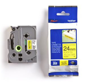 páska BROTHER TZS651 čierne písmo, žltá páska extra lepivá ADHESIVE Tape (24mm)