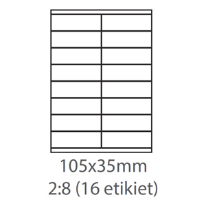 etikety ECODATA Samolepiace 105x35 univerzálne biele 16ks/A4 (100 listov A4/bal.)