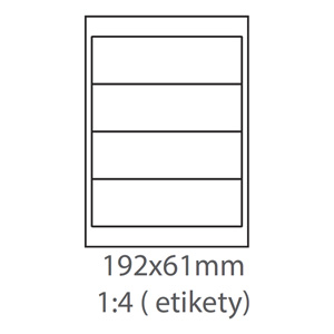 etikety ECODATA Samolepiace 192x61 univerzálne biele 4ks/A4 (100 listov A4/bal.)