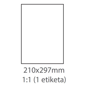 etikety ECODATA Samolepiace 210x297 univerzálne biele 1ks/A4 (100 listov A4/bal.)