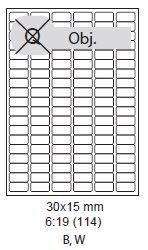 etikety ECODATA Samolepiace 30x15 univerzálne biele (100 listov A4/bal.) - minimálny odber 10ks