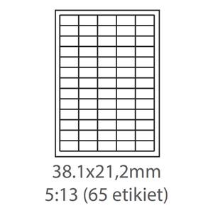 etikety ECODATA Samolepiace 38,1x21,2 univerzálne biele 65ks/A4 (100 listov A4/bal.)