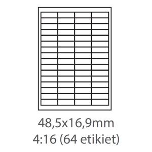 etikety ECODATA Samolepiace 48,5x16,9 univerzálne biele 64ks/A4 (100 listov A4/bal.)