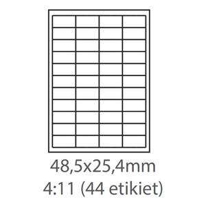 etikety ECODATA Samolepiace 48,5x25,4 univerzálne biele 44ks/A4 (100 listov A4/bal.)