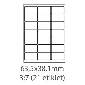 etikety ECODATA Samolepiace 63,5x38,1 univerzálne biele (100 listov A4/bal.)