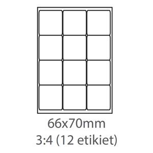 etikety ECODATA Samolepiace 66x70 univerzálne biele 12ks/A4 (100 listov A4/bal.)