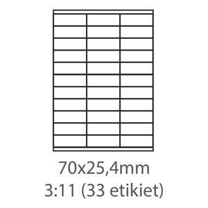 etikety ECODATA Samolepiace 70x25,4 univerzálne biele 33ks/A4 (100 listov A4/bal.)