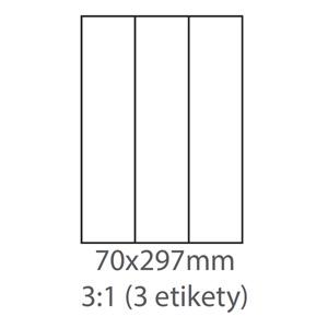 etikety ECODATA Samolepiace 70x297 univerzálne biele 3ks/A4 (100 listov A4/bal.)