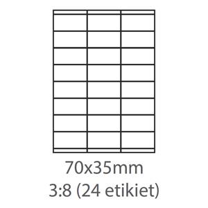 etikety ECODATA Samolepiace 70x35 univerzálne biele 24ks/A4 (100 listov A4/bal.)