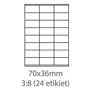 etikety ECODATA Samolepiace 70x36 univerzálne biele 24ks/A4 (100 listov A4/bal.)