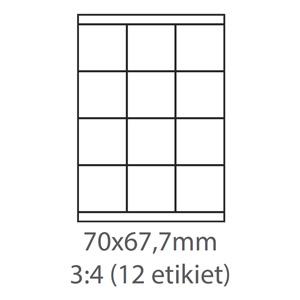 etikety ECODATA Samolepiace 70x67,7 univerzálne biele (100 listov A4/bal.)