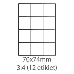 etikety ECODATA Samolepiace 70x74 univerzálne biele 12ks/A4(100 listov A4/bal.)