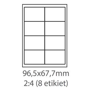 etikety ECODATA Samolepiace 96,5x67,7 univerzálne biele 8ks/A4 (100 listov A4/bal.)