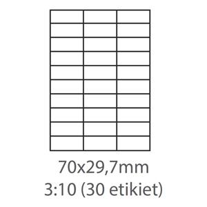 etikety ECODATA Samolepiace 70x29,7 univerzálne biele 30ks/A4 (100 listov A4/bal.)