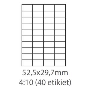 etikety ECODATA Samolepiace 52,5x29,7 univerzálne biele 40ks/A4 (100 listov A4/bal.)