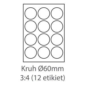 etikety ECODATA Samolepiace KRUH-60mm univerzálne biele 12ks/A4 (100 listov A4/bal.)
