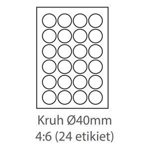 etikety ECODATA Samolepiace KRUH-40mm univerzálne biele 24ks/A4 (100 listov A4/bal.)