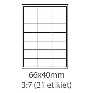etikety ECODATA Samolepiace 66x40 univerzálne biele 21ks/A4 (100 listov A4/bal.)