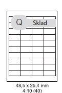 etikety ECODATA Samolepiace 48,5x25,4 univerzálne biele 40ks/A4 (100 listov A4/bal.)