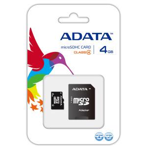 Pamäťová karta ADATA micro SDHC 4GB Class 4 + adaptér SDHC