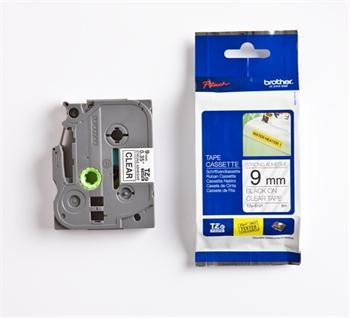 páska BROTHER TZS121 čierne písmo, transparentná páska extra lepivá ADHESIVE Tape (9mm)