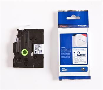 páska BROTHER TZeFA3 modré písmo, biela nažehľovacia páska FABRIC Tape (12mm)