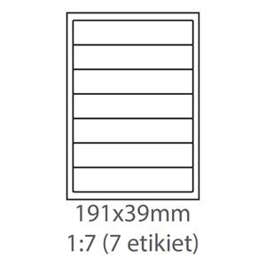 etikety ECODATA Samolepiace 191x39 univerzálne biele 7ks/A4 (100 listov A4/bal.)