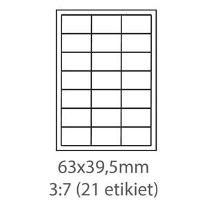 etikety ECODATA Samolepiace 63x39,5 univerzálne biele 21ks/A4 (100 listov A4/bal.)