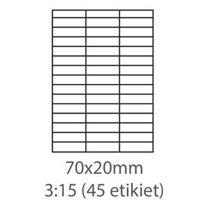 etikety ECODATA Samolepiace 70x20 univerzálne biele 45ks/A4(100 listov A4/bal.)