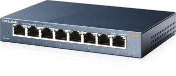 Gigabit Switch TP-LINK TL-SG108 . 8-port 10/100/10000M, 8x 10/100/1000M RJ45 ports, supports GMP Snooping, Metal case