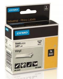 páska DYMO 18443 PROFI D1 RHINO Black On White Vinyl Tape (9mm)