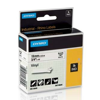 páska DYMO 18445 PROFI D1 RHINO Black On White Vinyl Tape (19mm)