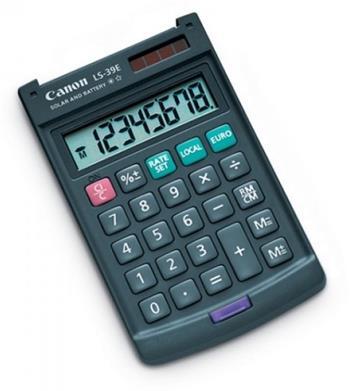 vrecková kalkulačka CANON LS-39E, 8 miest, solárne napájanie + batérie, prepočet EUR