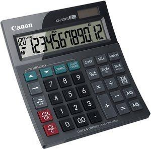 stolová kalkulačka CANON AS-220 RTS, 12 miest, solárne napájanie + batérie, 120