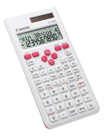 vedecká kalkulačka CANON F-715SG bielo/červená, 250 vedeckých a štatistických funkcií