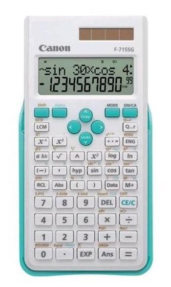 vedecká kalkulačka CANON F-715SG bielo/modrá, 250 vedeckých a štatistických funkcií
